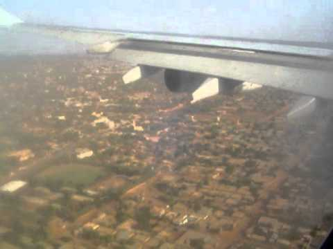 Landing in Ouagadougou on Air France Airbus A340-300 coming from Paris (via Niamey)