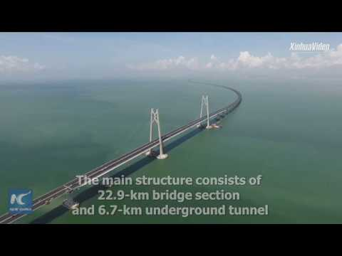 Main structure of world's longest cross-sea bridge finished