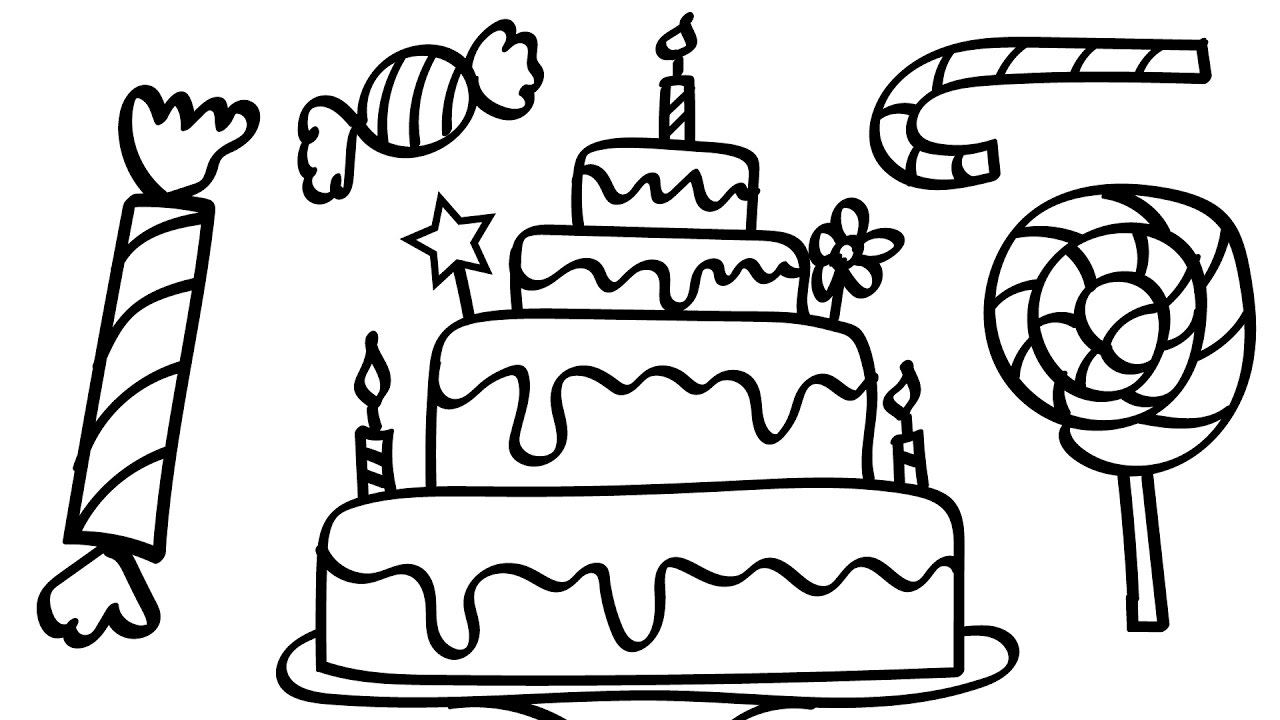 Birthday Cake and A Lot Of Candy Coloring Pages Kids Fun Art ...