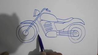 How to draw a motorcycle / Bagaimana cara menggambar motor