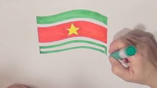 Learn geography for kids How to draw a flag Suriname