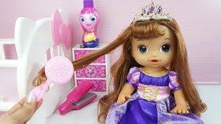 BABY ALIVE COM CABELO COMPRIDO MINHA BONECA NOVA VESTIDA DE PRINCESA RAPUNZEL thumbnail