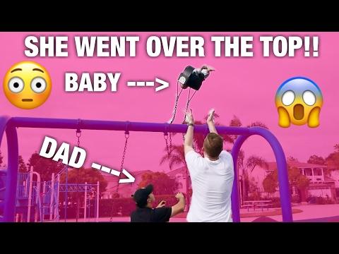 BABY GOES OVER SWING SET😱BABYSITTING GONE WRONG