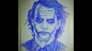 Using only a Pen to Draw The Joker in less than 2mins