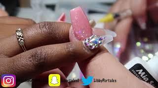 Cinderella ice glass Swarovski nails