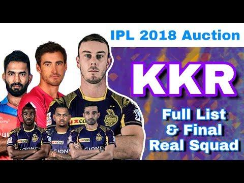IPL 2018 Auction : KKR - Final Full List Of Players & Real Squad | Kolkata Knight Riders