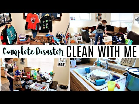 COMPLETE DISASTER CLEAN WITH ME   MESSY HOUSE CLEANING MOTIVATION   SAHM