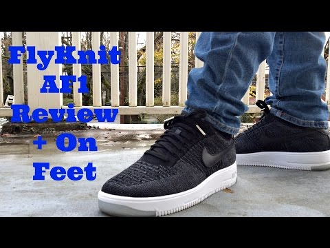 Black Nike Air Force 1 FlyKnit Low Detailed Review + On Foot