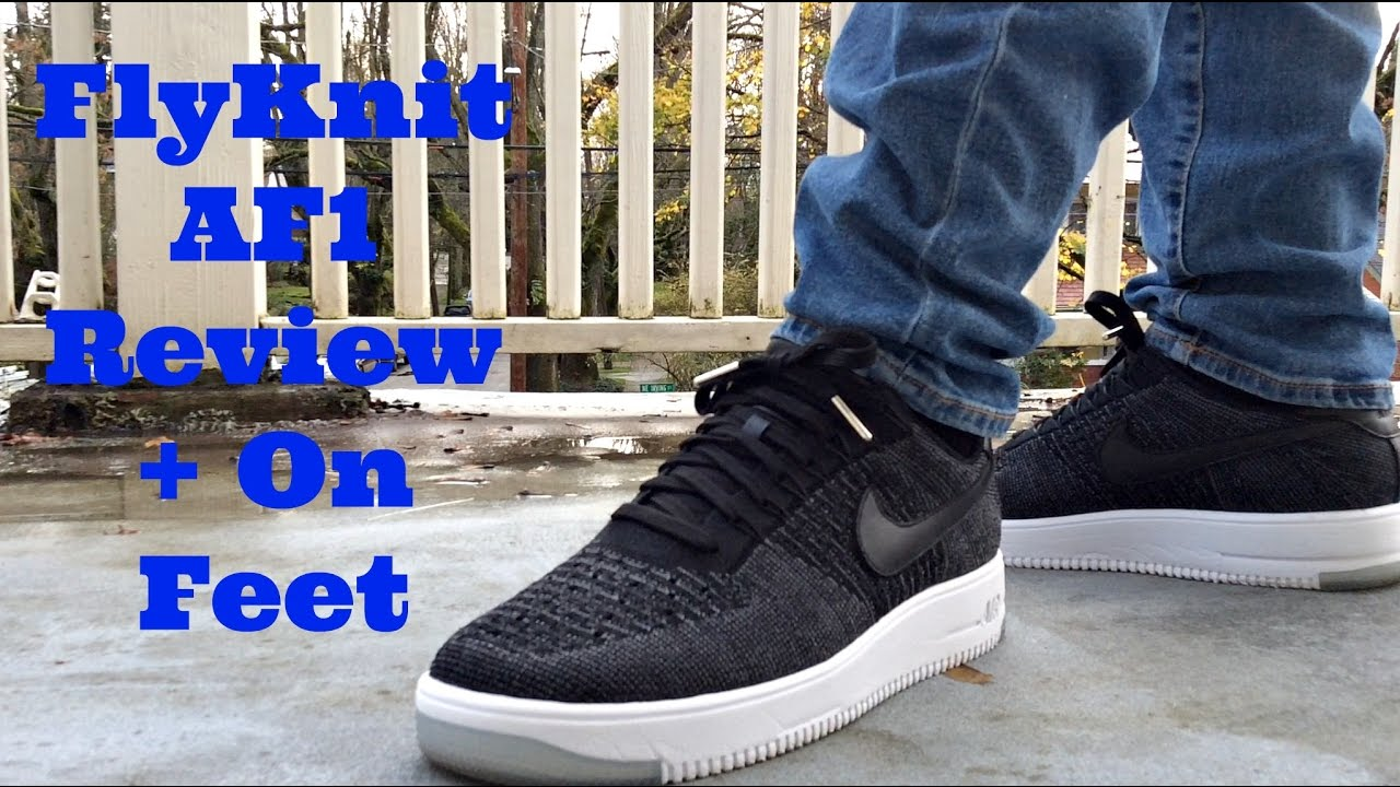 timeless design d6e96 ffc5b Black Nike Air Force 1 FlyKnit Low Detailed Review + On Foot