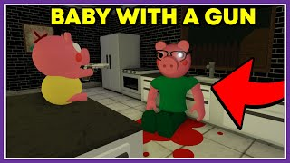 Baby with a gun - Piggy meme - funny