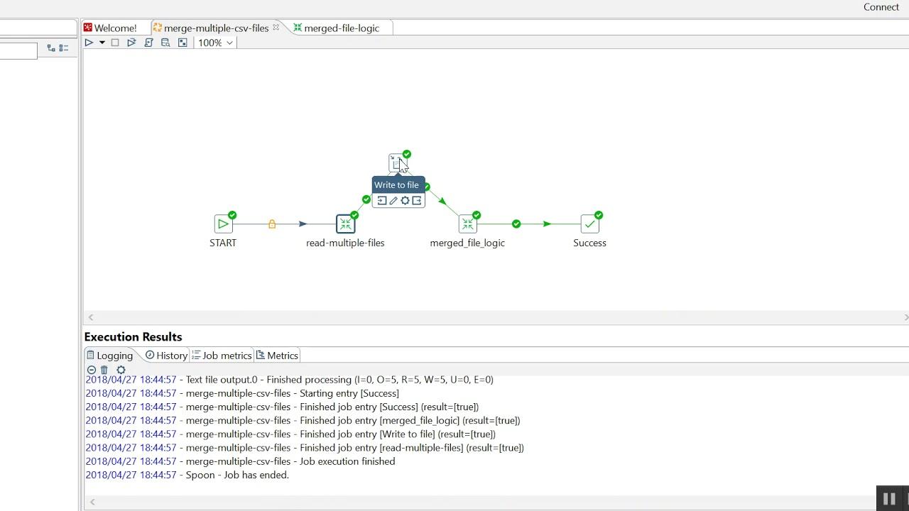 Merge mulitple csv files into single file in Pentaho