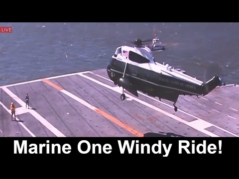 President Donald Trump Amazing Marine One Helicopter Landing Gerald Ford USS Navy Aircraft Carrier