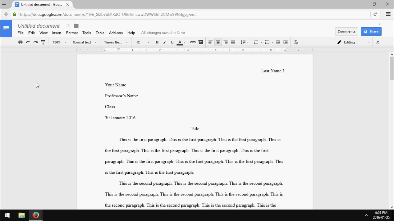 Proper mla format for college essay