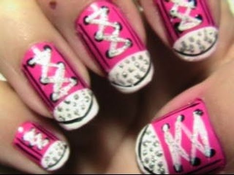 blinged converse nails