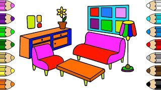 How to Draw Living room Coloring Pages | Learn color and Drawing Page for kids