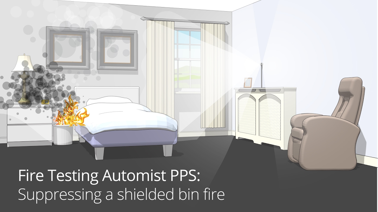 Automist smartscan fire protection for the home - Watch The Automist Personal Protection System Pps Suppress A Shielded Fire Under A Bed