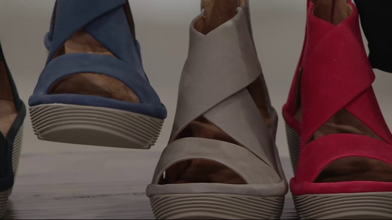 5a19dbee867b Clarks Artisan Nubuck Leather Back Zip Wedge Sandals - Clarene Glamour on  QVC