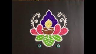 Simple Lotus & Deepa Rangoli Design with Beautiful Colours and Dots 7x4 | Easy Daily Rangoli / kolam