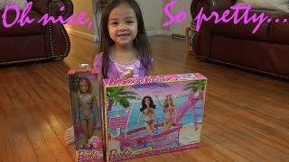 Video Toys for Little Girls: Unboxing a Barbie Doll and Glam Pool with Maya Girl :-) download MP3, 3GP, MP4, WEBM, AVI, FLV Juni 2018