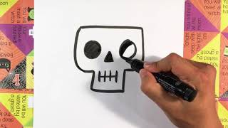 How to Draw a Cute Spooky Skull - Halloween Drawings