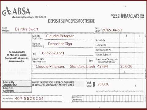 SA-How To Fill ABSA Bank Deposit Slip