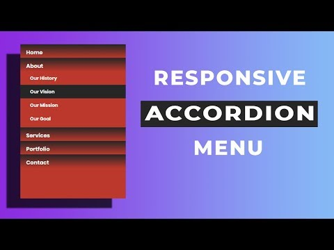 Responsive Vertical Accordion Menu using html and css