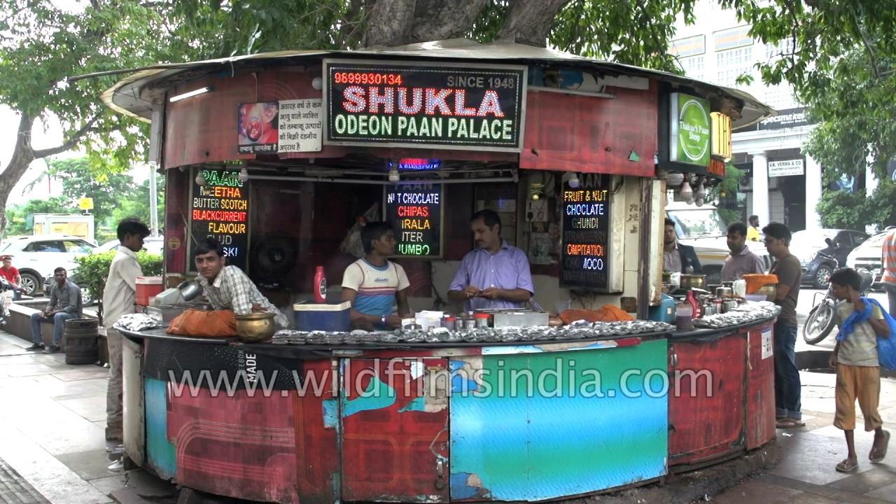 Paan Shop at Connaught Place in Delhi: chuna, katha, supari and meetha pan