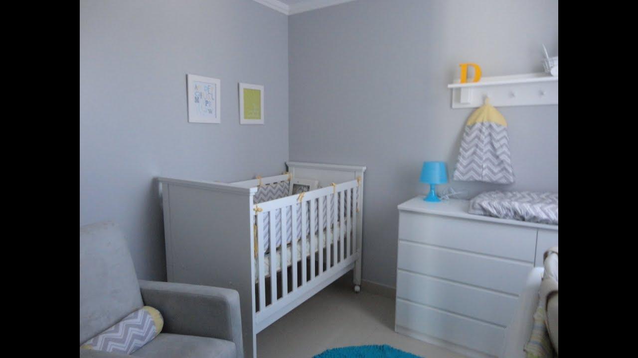 decoracao de quarto de bebe azul e amarelo:Cinza Quarto De Bebe