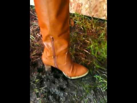 Brown tall leather high heel boots trampling and crushing #49