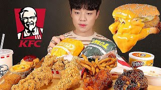 🍔 KFC 타워버거 커넬고스트헌터 블랙라벨 핫크리스피치킨 사이드메뉴까지 먹방 KFC BURGER FRIED CHICKEN ASMR MUKBANG チキン ayamgoreng