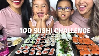 100 SUSHI CHALLENGE [MUKBANG] Celebrating 10K - Lets Eat