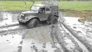 Тест по грязи.Газ 69 на колесах от  телеги К-700