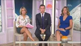 Dylan Dreyer - leather skirt & ankle strap high heels - September 15, 2015