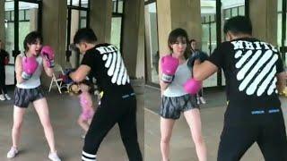 Gisella Anastasia latihan boxing, gagal fokus ama pahanya yang mulus banget