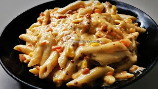 HOW TO MAKE PENNE PASTA IN CREAMY CHEESY WHITE SAUCE  PASTA IN WHITE SAUCE  WHITE SAUCE PASTA!!!