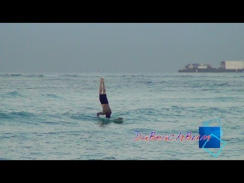 waikiki-beach-surfer-surfing-✔-ota---surfs-on-head-backwards-★hd★