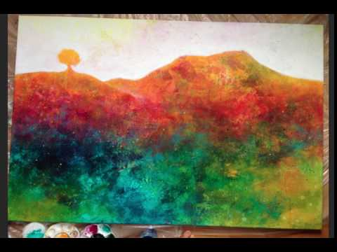Abstract landscape painting: Different steps in creating a painting