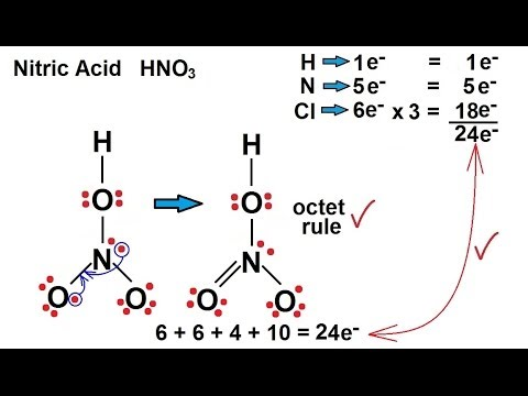 Chemistry - Chemical Bonding (19 of 35) Lewis Structures - Nitric Acid - HNO3