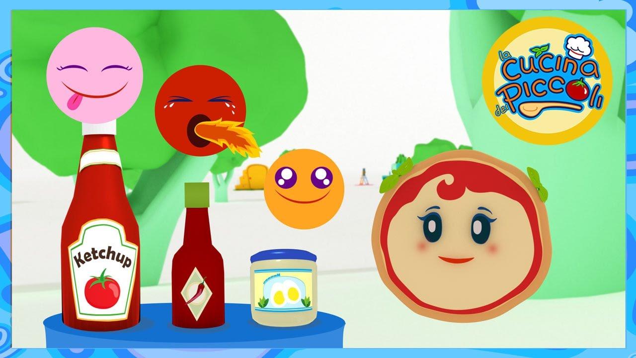 Giochi per bambini margherita e le salse in cucina