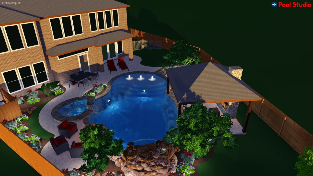 Freeform pool with swim up bar and grotto youtube - Pictures of pools with swim up bars ...