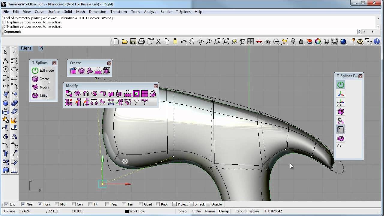 T splines for rhino exercise 4 modeling a hammer youtube for T spline architecture