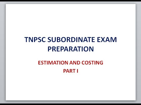 Estimation and costing/Tnpsc