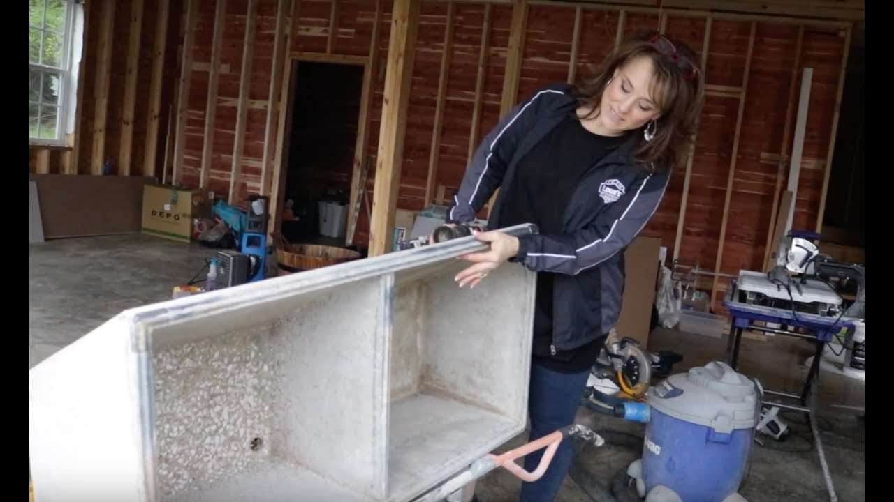 Installing Our Vintage Concrete Sink In Our New Laundry