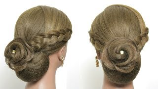 Elegant Flower Bun Hairstyle For Long Hair Tutorial. Wedding Updo