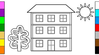 How to Draw Big House - Learning Colors & Coloring for Kids