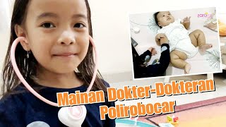 Zara Main Dokter Dokteran periksa Bayi Lucu Gemuk | Mainan Anak Poli Robocar Amber | Pretend Play