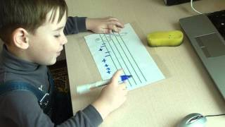 Музыкальный диктант с записью нот. Иван, 4 года