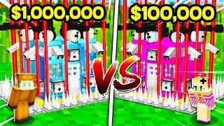 BROTHER vs SISTER $1,000,000 SAFEST MINECRAFT SECRET BASE CHALLENGE! (BOY vs GIRL) (NOOB vs PRO)