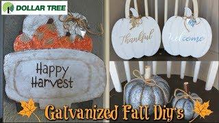 DOLLAR TREE FALL FARMHOUSE DIY'S 🍂 FALL TRUCK 🍁 GALVANIZED PUMPKINS