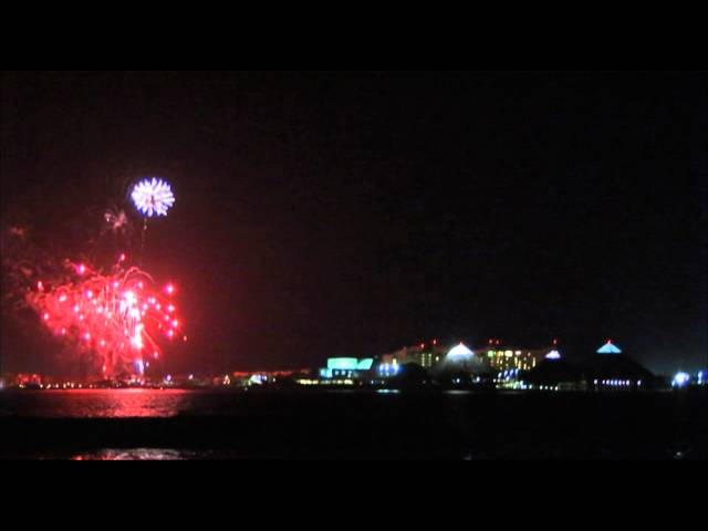 Attractions: Fireworks After Bands on the Sand at Moody Gardens on Galveston Island, Texas